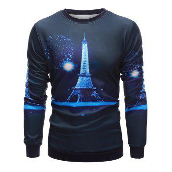 3D Iron Tower Print Crew Neck Sweatshirt