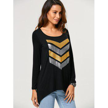 Chevron Pattern Asymmetrical T-Shirt - BLACK L