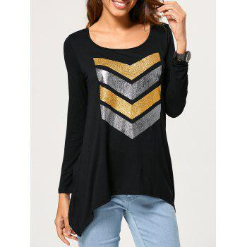 Chevron Pattern Asymmetrical T-Shirt