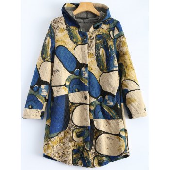 Hooded Vintage Printed Coat
