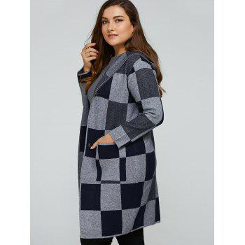 Hooded Checked Woolen Coat