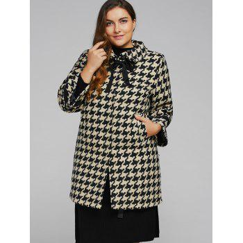 Houndstooth Plus Size Cashmere Coat