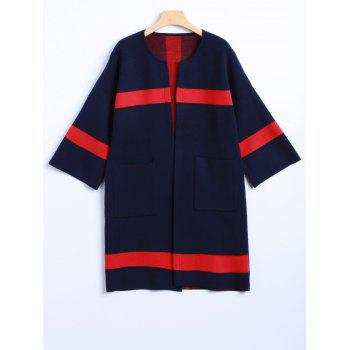 Color Block 3/4 Sleeve Cashmere Coat