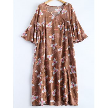 High-Low Vintage Printed Dress