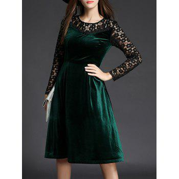 Lace Spliced Long Sleeve Fit and Flare Dress