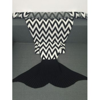 Soft Wave Stripes Jacquard Knitting Mermaid Tail Blanket - WHITE/BLACK