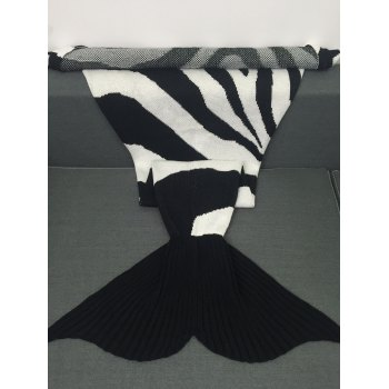 Super Soft Color Block Knitted Mermaid Tail Blanket - WHITE/BLACK