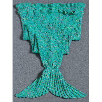 Super Soft Flouncing Decor Knitted Mermaid Tail Blanket - GREEN