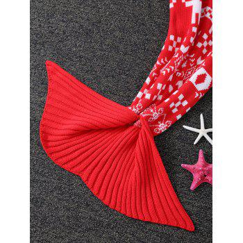 Knitted Christmas Jacquard Mermaid Tail Blanket - RED