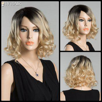 Short Fluffy Curly Side Parting Ombre Siv Human Hair Wig