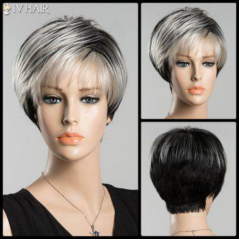 Short Spiffy Straight Inclined Bang Ombre Siv Human Hair Wig
