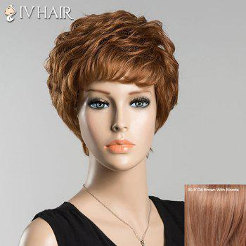 Short Full Bang Bouncy Curly Siv Human Hair Wig