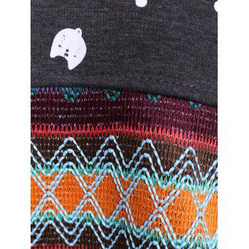 Color Block Kitten Pattern Zigzag Top - DEEP GRAY 2XL