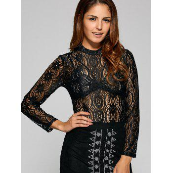 See Through Oval Lace T-Shirt - BLACK BLACK