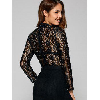 See Through Oval Lace T-Shirt - BLACK S