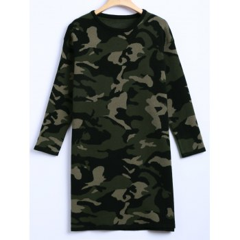 Camouflage Loose Sweater Dress