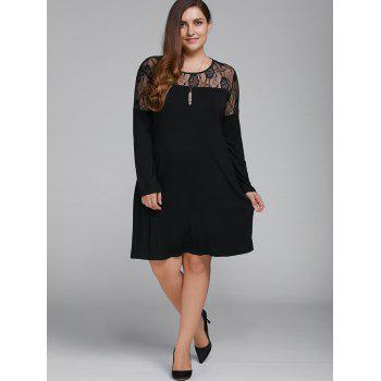 Plus Size Long Sleeve Lace Splicing Dress