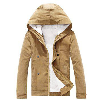 Plush Inside Snap Button Zip Up Men's Hooded Coat