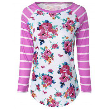 Flower Print Striped Raglan Sleeves T-Shirt - PINK 2XL