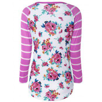Flower Print Striped Raglan Sleeves T-Shirt - 2XL 2XL