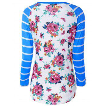 Flower Print Striped Raglan Sleeves T-Shirt - S S