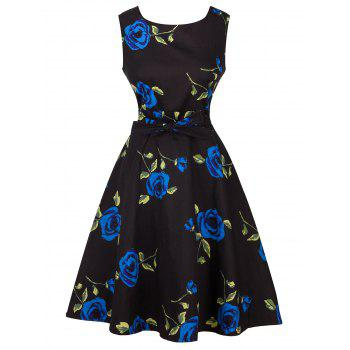 Vintage Tie-Waist Rose Print Slimming Dress - BLUE BLUE