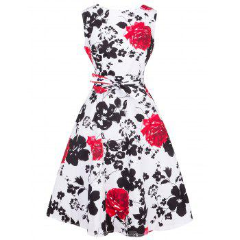 Retro Ornate Floral Print Tie-Waist Dress - RED RED