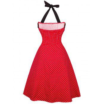 Vintage Halter Polka Dot froncé Dress - Rouge M