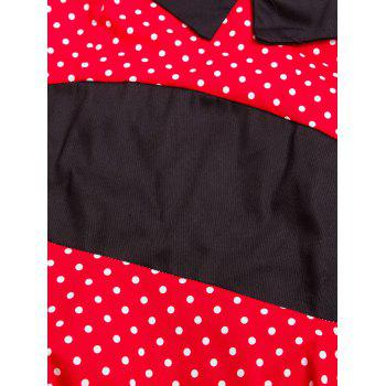 Vintage Halter Polka Dot Shirred Dress - M M