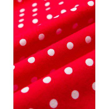 Vintage Halter Polka Dot Shirred Dress - RED M