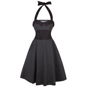 Vintage Halter Polka Dot Shirred Dress - BLACK L