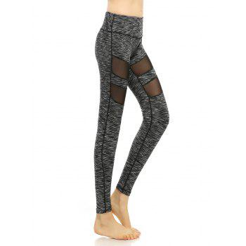 Heathered Mesh-Insert Stretchy Pants - BLACK GREY L