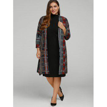 Plus Size Tribal Pattern Long Woolen Coat