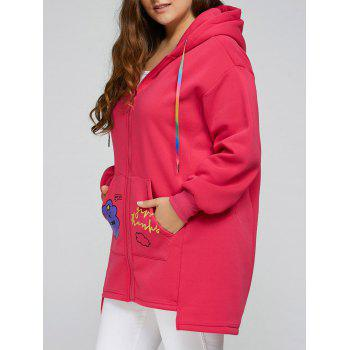 Plus Size Thick Zip Up Long Hoodie Coat