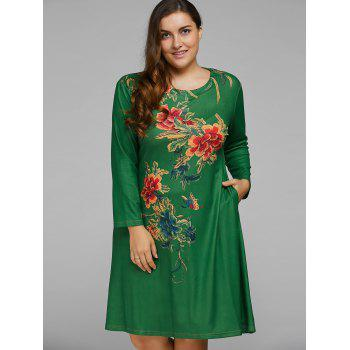 Plus Size Vintage Peony A Line Dress