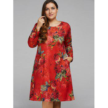 Plus Size Peony Flower Printed A Line Dress
