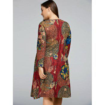 Plus Size Peacock Printed A Line Long Sleeve Dress - WINE RED ONE SIZE