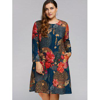 Plus Size Peacock Printed A Line Long Sleeve Dress