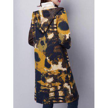Tie Dyed Longline Hooded Coat - COLORMIX M
