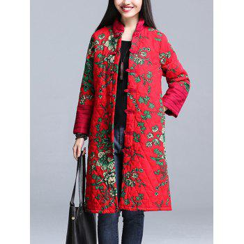 Stand Collar Printed Padded Coat
