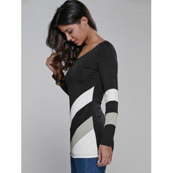 Color Block Long Sleeve Fitted T-Shirt - WHITE/BLACK M