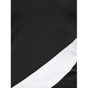Color Block Long Sleeve Fitted T-Shirt - WHITE/BLACK L