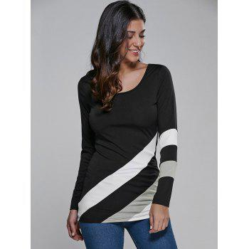 Color Block Long Sleeve Fitted T-Shirt - WHITE AND BLACK L