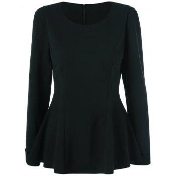 Cuffed Sleeve Peplum Blouse