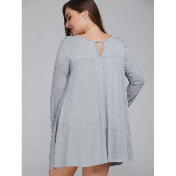 Long Sleeve Keyhole Plus Size Spring Casual Swing Dress - LIGHT GRAY XL