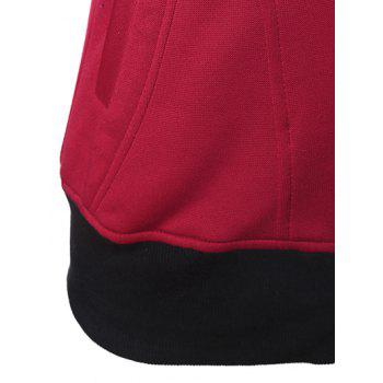 Casual Pockets Long Sleeve Zipper Up Hoodie - CLARET 2XL