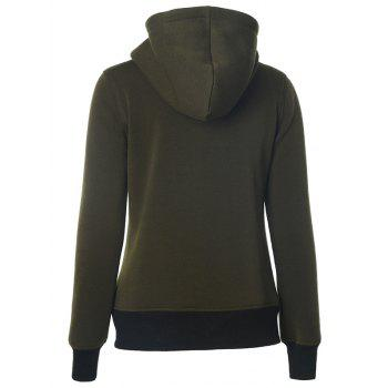 Casual Pockets Long Sleeve Zipper Up Hoodie - ARMY GREEN S