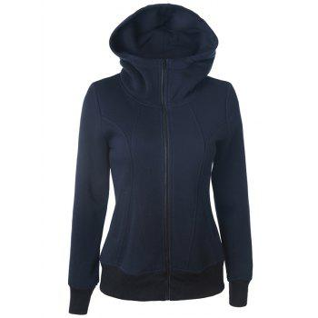 Casual Pockets Long Sleeve Zipper Up Hoodie