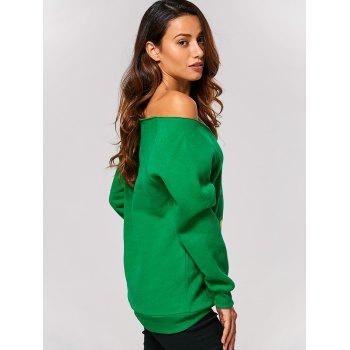 Off The Shoulder Letter Printed Christmas Sweatshirt - GREEN S