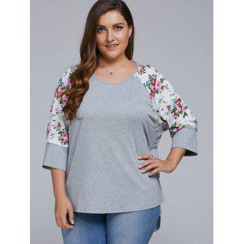 Plus Size Floral Sleeve High Low Blouse